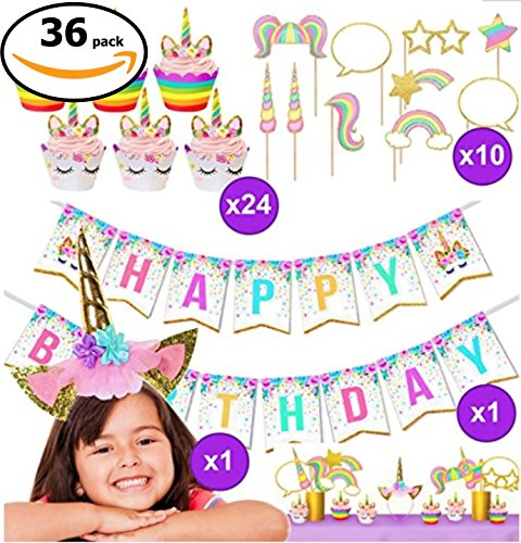 Unicorn Party Supplies, Girls Happy Birthday Kit Decorations and Party (Pan Horns Costume)
