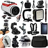TomTom Bandit 4K HD Action Camera + Everything You Need 18 Piece Accessories Bundle includes Selfie Stick + Opteka X-Grip + Travel Case + Solar Charger + Head/Chest Strap + More!