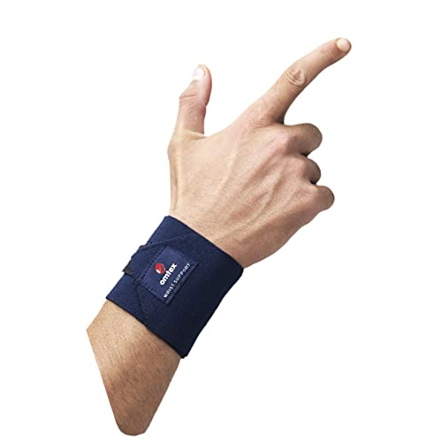 Omtex Adjustable Velcro Elasticized-Fabric Wrist Support, Men's Free Size (Navy Blue)