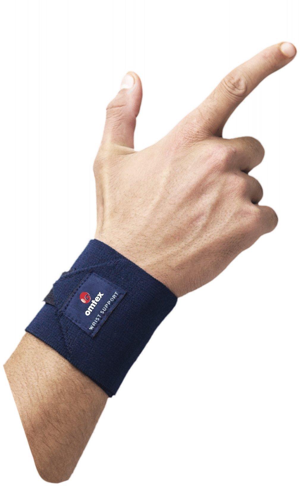 Omtex Adjustable Velcro Elasticized-Fabric Wrist Support, Men's Free Size (Navy Blue) product image
