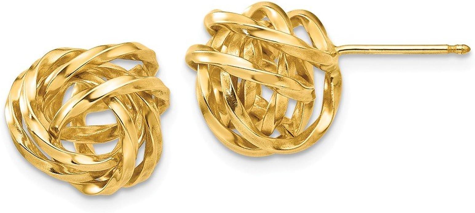 Mia Diamonds 14k Yellow Gold Polished Knot Post Earrings