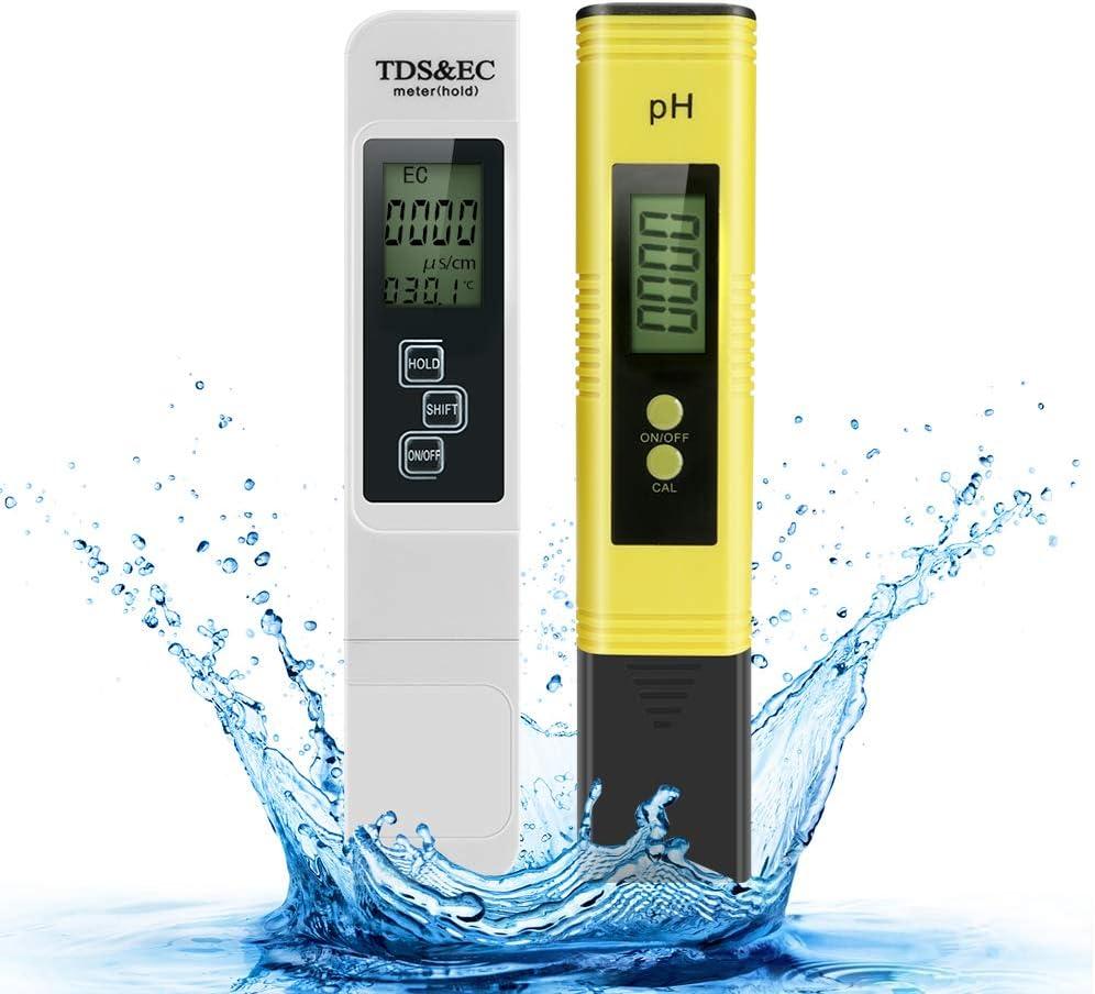 Medidor de pH prueba digital de calidad del agua Achort TDS PH EC Temperatura 4 en 1 con alta precisi/ón y pantalla LCD ideal para agua potable//piscina//acuario//piscinas