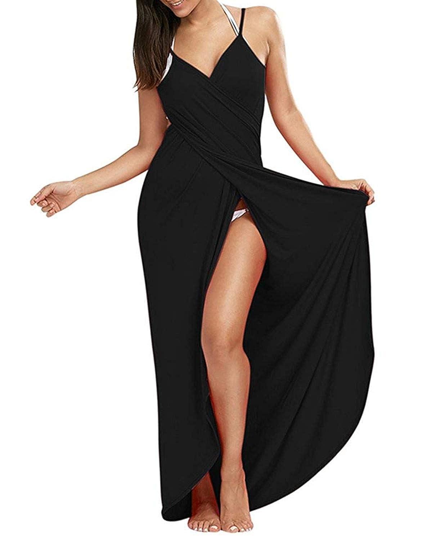 Black Yanekop Womens Sexy Deep VNeckline Maxi Backless Beach Dress Bikini Wrap Long