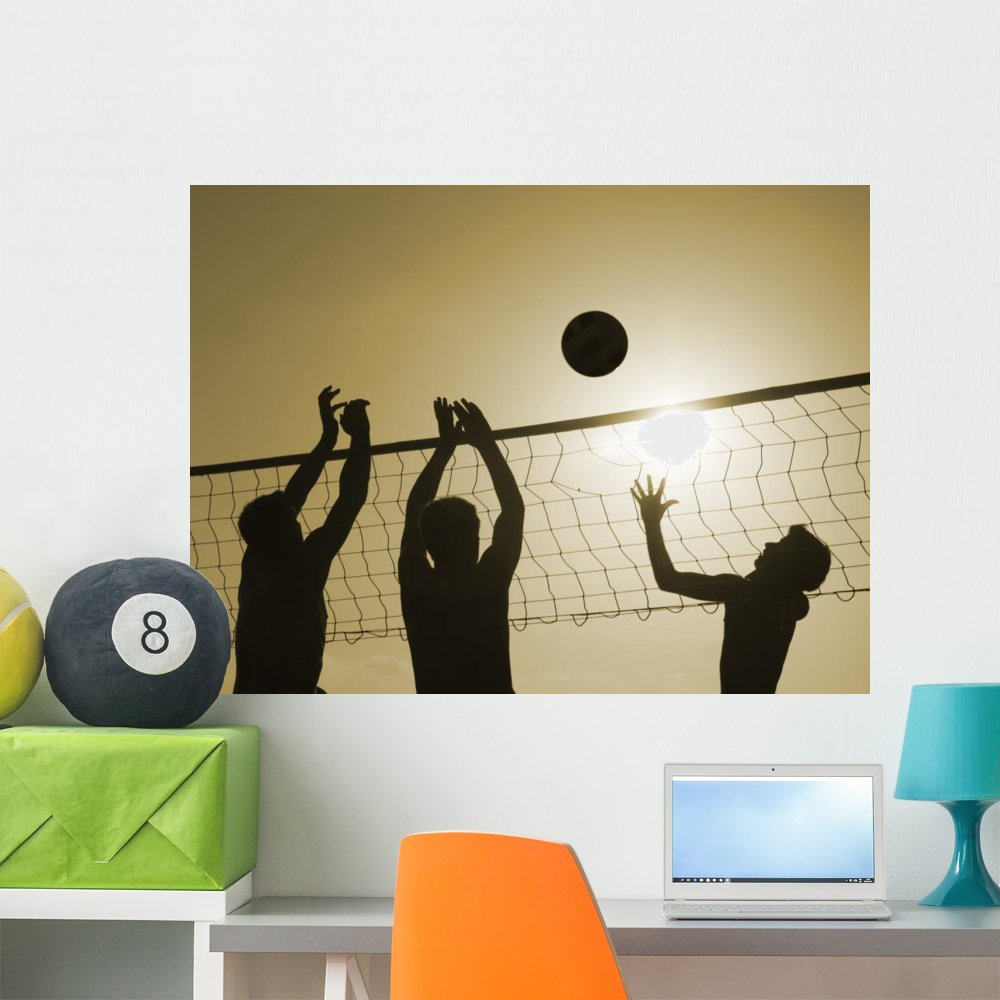 Wallmonkeys Volley-Ball Wall Decal Peel and Stick Graphic WM133719 18 in W x 14 in H