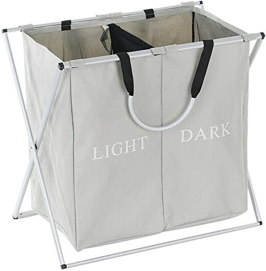 2 Sections Home Double Laundry Basket with Lid Aluminum X-Frame Clothes Sorter