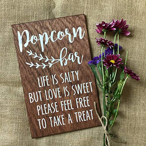 (Popcorn Bar Sign, Wedding, Party, Wooden Sign, Chalkboard, Wedding Decor, Event Decor, Popcorn Bar, Wedding Popcorn Favor, Popcorn Sign Wooden Sign Wall Decor Garden Signs and Plaques)