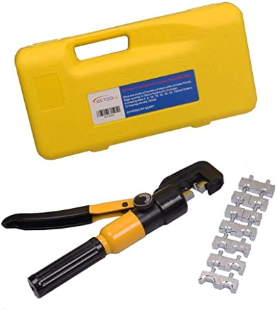 6 Ton Hydraulic Wire Terminal Crimper Battery Cable Lug Crimping Tool w// 8 Dies