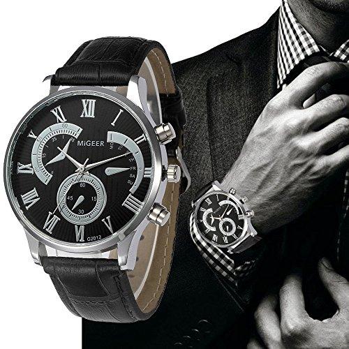 Pocciol Men's Cool Retro Design Leather Strap Quartz Alloy Analog Wristwatch Clock (Black) by Pocciol (Image #2)
