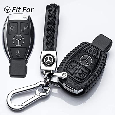 Hey Kaulor Suit for Mercedes-Benz 3 Buttons Key Fob case Cover for A C E S Class Series,GLK CLA GLA GLC GLE CLS SLK AMG Series, Car Remote Pouch with Key Rings Keychain Holder Metal Hook Black: Automotive