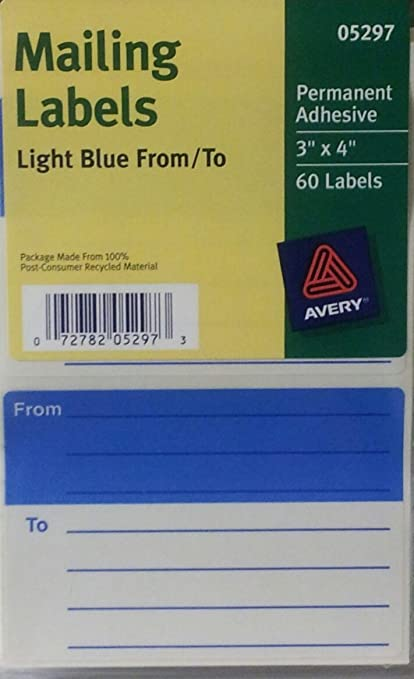 amazon com avery from to light blue mailing labels w guide lines