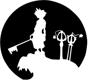 "Silhouette Decals-Kingdom Hearts Sora Moon Light 5"" Decal Sticker for Cars Laptops Tablets - WHITE"
