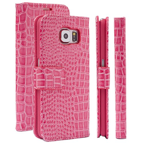 Samsung Galaxy S6 Case | Caiman Crocodile magenta | iCues Maraba Wallet | other Leather - and color variations available | Protective cover with Card Slots - Kickstand and Gift Box | Flip Folio (Caiman Crocodile Belt)