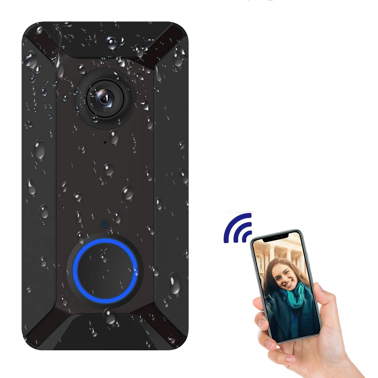 WiFi Video Doorbell Camera with LED Ring HD Waterproof Battery Power Two-Way Audio Talk Notification/Alert on Phone Free Cloud Recording Smart Night Vision-V6