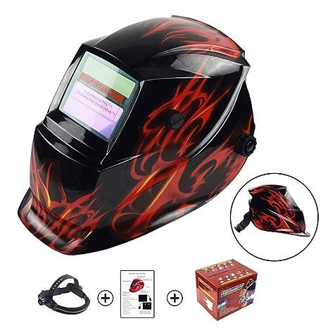 Casco soldador Negro con diseño de fuego rojo Casco de soldadura con energía solar Oscurecimiento automático ...