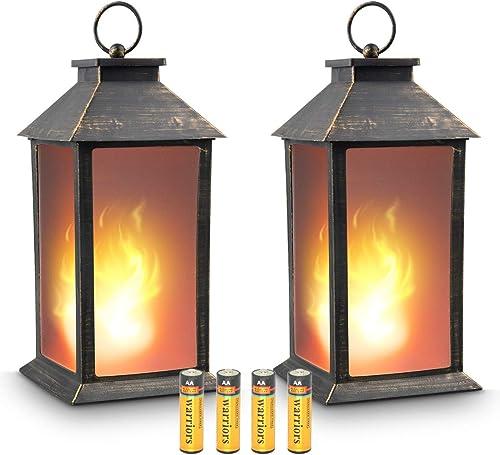 zkee 13″ Vintage Style Decorative Lantern,Flickering Flame Effect LED Tabletop Lantern Black,4 Hours Timer Batteries Included Indoor/Outdoor Hanging Lantern,Decorative Candle Lantern Set of 2