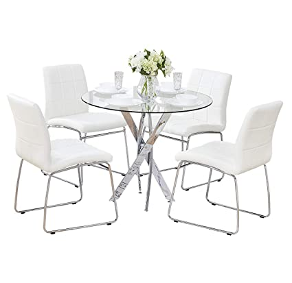 SICOTAS 5 Pcs Round Dining Table Set,Tempered Glass Kitchen Table and 4  Faux Leather Chairs with Chrome Legs, Modern Dining Room Table Set for  Kitchen ...