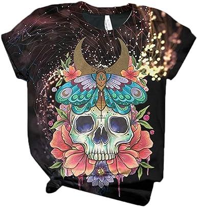 Camiseta con Estampado de Calavera para Mujer Tops Casuales de Verano, Blusa con Camiseta Floral de Manga Corta: Amazon.es: Ropa y accesorios
