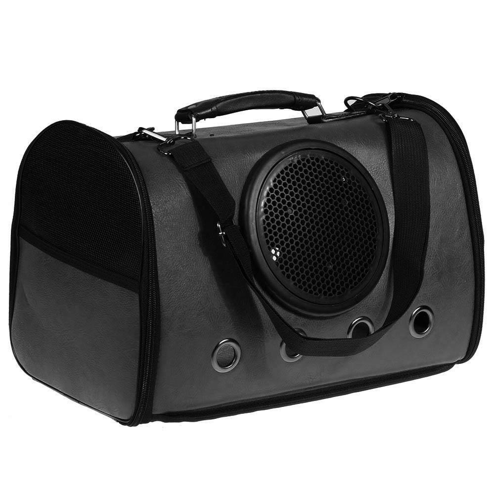 Everpert Pet Dog Outdoor Bag Foldable Pu Cat Space Capsule Carrier Backpack(Black)