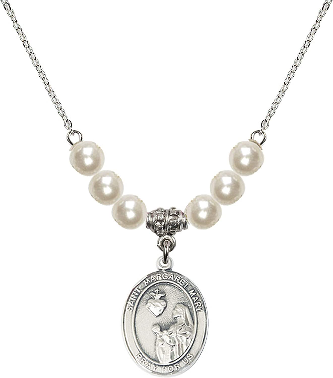 Bonyak Jewelry 18 Inch Rhodium Plated Necklace w// 6mm Faux-Pearl Beads and Saint Margaret Mary Alacoque Charm