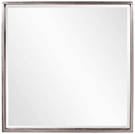 Howard Elliott Isa Large Square Hanging Wall Mirror, Bright Nickel Shadow Box Frame, 40 x 40 Inch