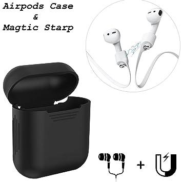 Coscod - Conjunto de funda y correa para AirPods, correa magnética para AirPods de iPhone 7 y 7 Plus y funda de silicona, color negro: Amazon.es: ...