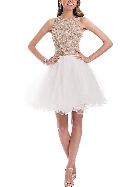 Now & Forever Nude Satinado Con Cuentas Top Corto de tul vestido de fiesta Blanco blanco