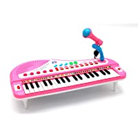 EASY FUTURE 37-Key Toy Keyboard Piano Electronic and Battery Piano Musical Instrument Child Kids Musical Toys Including Microphone NO:QM3758 (pink)