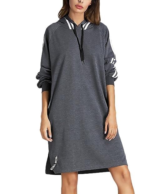 Donna Felpa Con Cappuccio Sportiva Vestiti Manica Lunga Elegante Casual  Fashion Autunnale Invernale Lunghi Felpe Con Cappuccio Sweatshirt Hoodies  Abito ... 5a14f831d9f