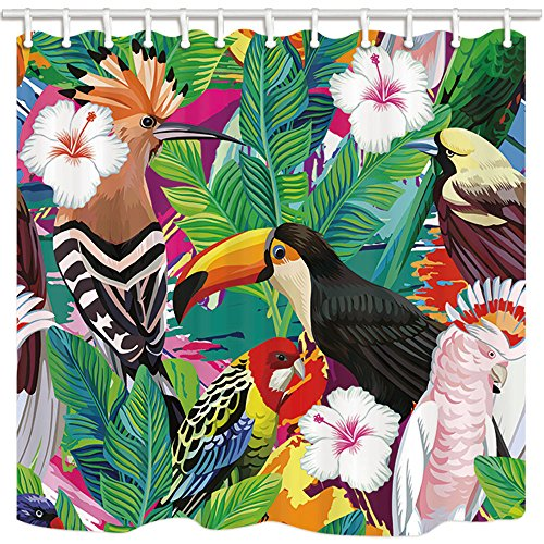 - ZIXCOS Tropical Plant Decor Shower Curtain, Colorful Bird White Flower Green Leaf, Polyester Fabric Waterproof Shower Curtain Bathroom, 69X70in, Shower Curtains Hooks Included