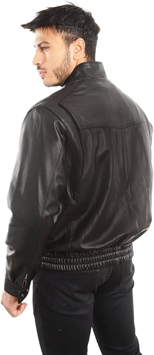 1950 Mens Jacket Genuine Lambskin Leather Stand UP Collar Winners Coat REED EST