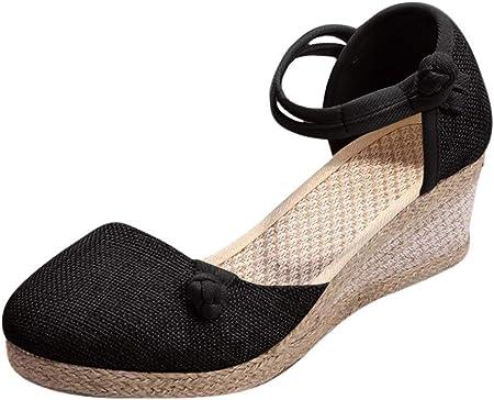 Luckycat Sandalias Mujer Cuña Alpargatas Plataforma Bohemias Romanas Mares Playa Gladiador Verano Tacon Planas Zapatos Zapatillas