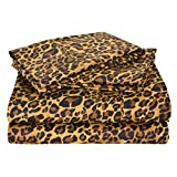 """Leopard Print 4PCs Bed Sheet Set Queen Size Bland Durable Quality Genuine 600-Thread-Count (15"""" Pockets) Super Rich Egyptian Cotton by Rajlinen"""