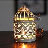 niceEshop(TM) Metal Votive Candle Holder Hanging Lantern Home Centerpiece (White,Random Pattern)
