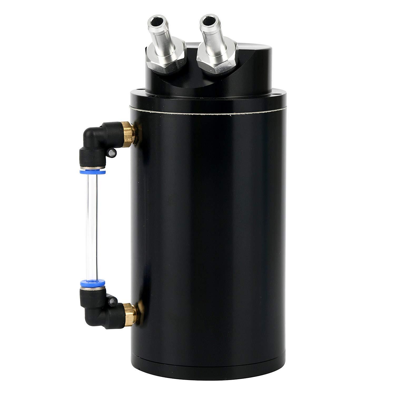 YaeKoo Universal Black Aluminum Car Oil Reservoir Catch Can Tank Kit Black for Toyota Dodge Yaemart Corportation