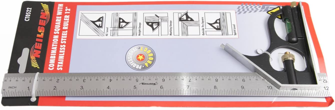 Nielson Combination Squares /& Level with Stainless Steel 12 Ruler