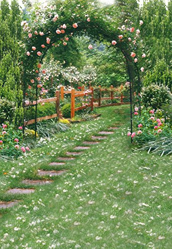 Yeele 3x5ft Spring Garden Backdrop for Photography Park Arch Flowers Green Grass Background Weeding Decoration Kids Adult Photo Booth Shoot Vinyl Studio Props