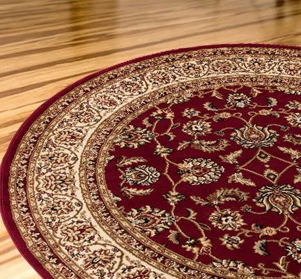 Antique Classic Red 7 10 Round Area Rug Oriental Floral Motif Detailed Classic Pattern Persian Living Dining Room Bedroom Hallway Office Carpet Easy Clean Traditional Soft Plush Quality