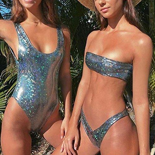 BZLine® Frauen Pailletten Leder Schulterfrei Push-Up Silber Bikini Bademode A OJJi3