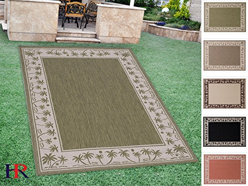 Handcraft Rugs Indoor/Outdoor area Rug with Palm Trees Design Oasis Accent Ivory Border and Solid Sage Green Center (5 ft. by 7 ft.)