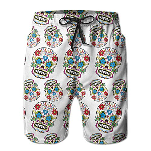 FANTASY SPACE Men's Diamond Mexico Sugar Skull Swim Trunks Swimwear for Beach Gym Hiking - Breathable Fast Dry Loose Adjustable Drawstring Board Shorts Big & Tall Swim Trunks -