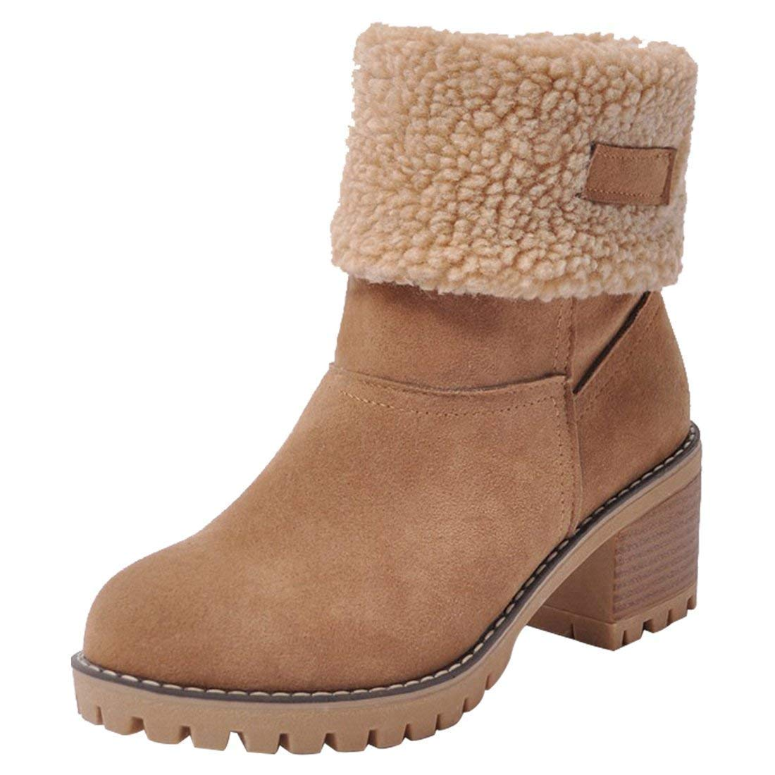 Camel Susanny Womens Ankle Snow Boots Winter Warm Fur Booties Chunky Mid Heels Cute shoes