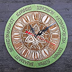 Meal times Triquetra green unique kitchen wooden wall clock, home decor, personalized, housewarming, Victorian, gift, wall decor, Anniversary Gift, meal planning, kitchen wall clocks