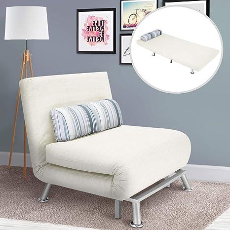 Bakaji - Sofá Cama Individual con Estructura de Metal, Revestimiento de algodón Acolchado, Respaldo reclinable, 5 Posiciones, 75 x 70 x 75 cm, Color ...