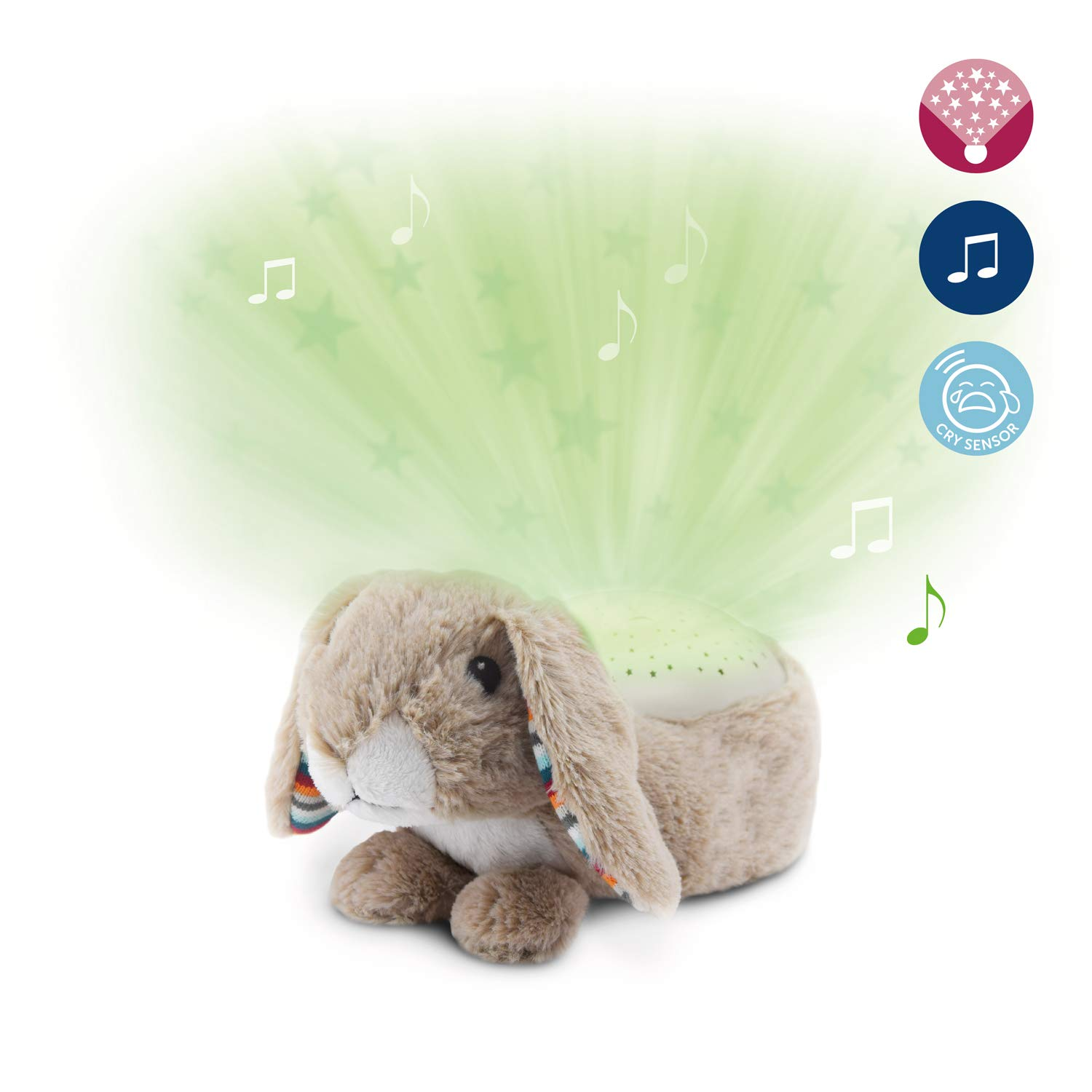 Soothing Starlight Nightlight Toy Projector - Soft Plush Animal with Starry Projections, Soft Musical Lullabies, Color Changing, Cry Sensor, Auto-Off, Battery Operated - Ruby The Rabbit by Zazu Kids
