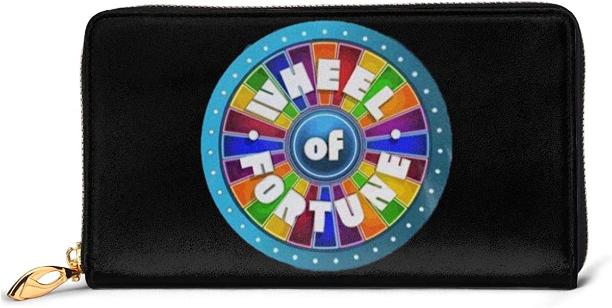 Belindaa Retro-Wheel-of-Fortune-Cool Leather Long Wallet Card Holder Clutch Bag Purse Zip Handbags Womens