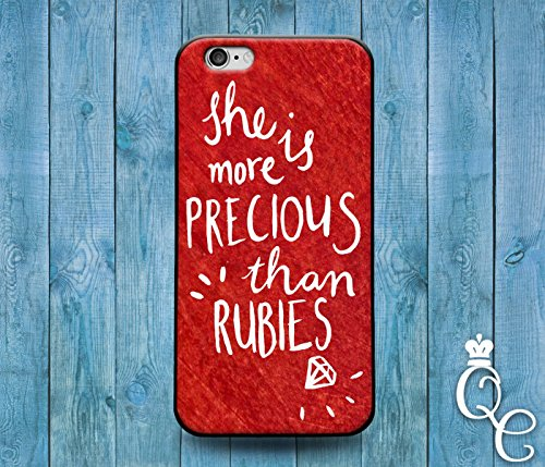 *BoutiqueHouse* iPhone 4 4s 5 5s 5c SE 6 6s plus + iPod Touch 4th 5th 6th Gen Cover She is More Precious Than Rubies Proverbs Jewel Cute Quote Phone Case(iPhone 5/5s) (Ipod 5 Case Jewels)