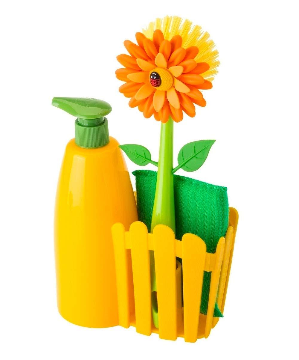 VIGAR Flower Power Set Fregadero con Cepillo, Esponja y dosificador para jabón, Material: