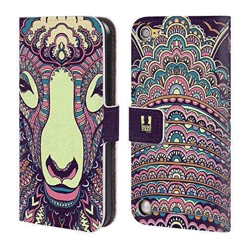 Head Case Designs Pecora Volti Di Animali Aztechi 2 Cover a portafoglio in pelle per iPod Touch 5th Gen / 6th Gen
