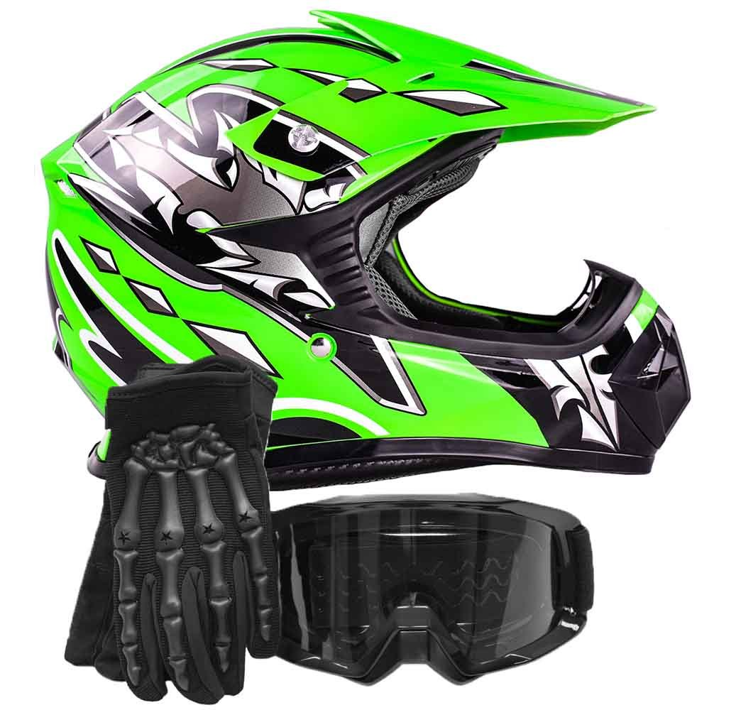 Youth Kids Offroad Gear Combo Helmet Gloves Goggles DOT Motocross ATV Dirt Bike Motorcycle Green Black, Small