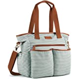 Plambag Striped Nappy Tote Weekender Bag, Baby Nappy Shoulder Bag w/Changing Pad (Light Green & White)